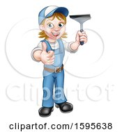 Full Length Happy White Female Window Cleaner In Blue Giving A Thumb Up And Holding A Squeegee