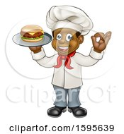 Clipart Of A Full Length Male Chef Holding A Cheese Burger On A Tray And Gesturing Perfect Royalty Free Vector Illustration