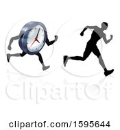 Poster, Art Print Of Silhouetted Man Racing A Clock Character
