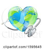 Clipart Of A 3d Medical Stethoscope Around A Heart World Earth Globe Royalty Free Vector Illustration