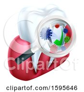 Clipart Of A Magnifying Glass Over A Tooth And Gums Displaying Bacteria And A Shield Royalty Free Vector Illustration
