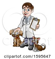 Poster, Art Print Of Cartoon Happy May Veterinarian Waving And Holding A Clipboard With A Dog And Cat