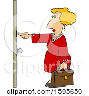 Clipart Of A Cartoon White Sales Woman Ringing A Door Bell Royalty Free Vector Illustration