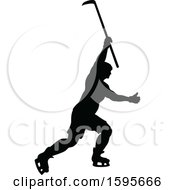 Clipart Of A Silhouetted Male Ice Hockey Player Royalty Free Vector Illustration by AtStockIllustration