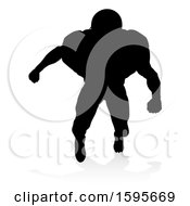 Clipart Of A Silhouetted Football Player With A Reflection Or Shadow On A White Background Royalty Free Vector Illustration by AtStockIllustration