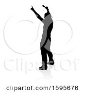 Clipart Of A Silhouetted Male Singer With A Reflection Or Shadow On A White Background Royalty Free Vector Illustration by AtStockIllustration