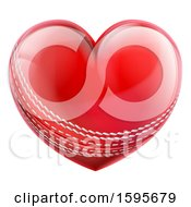 Clipart Of A Red Heart Shaped Cricket Ball Royalty Free Vector Illustration