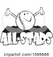 Poster, Art Print Of Black And White Baseball School Mascot On All Stars Text