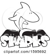 Clipart Of A Black And White Shark School Mascot Over Text Royalty Free Vector Illustration