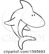 Clipart Of A Black And White Shark School Mascot Royalty Free Vector Illustration