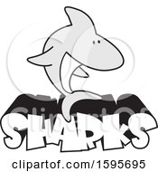 Shark School Mascot Over Text