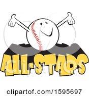 Poster, Art Print Of Baseball School Mascot On All Stars Text