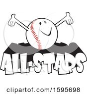 Clipart Of A Baseball School Mascot On All Stars Text Royalty Free Vector Illustration