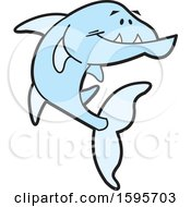 Clipart Of A Blue Barracuda Fish School Mascot Royalty Free Vector Illustration by Johnny Sajem