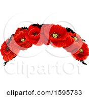 Clipart Of A Red Poppy Flower Design Royalty Free Vector Illustration