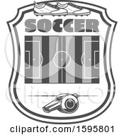 Clipart Of A Grayscale Soccer Design Royalty Free Vector Illustration