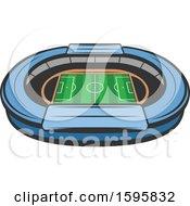 Clipart Of A Soccer Stadium Design Royalty Free Vector Illustration