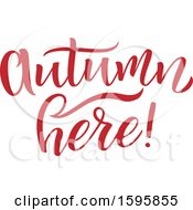 Clipart Of An Autumn Here Text Design Royalty Free Vector Illustration