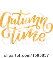 Clipart Of An Autumn Time Text Design Royalty Free Vector Illustration