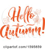 Clipart Of A Hello Autumn Text Design Royalty Free Vector Illustration