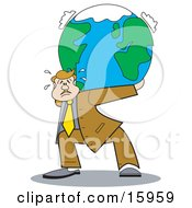 Overwhelmed Businessman Carrying The Weight Of The World On His Back Clipart Illustration