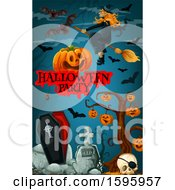 Clipart Of A Halloween Party Background Royalty Free Vector Illustration