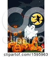 Clipart Of A Halloween Background Royalty Free Vector Illustration