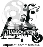Clipart Of A Silhouetted Halloween Design Royalty Free Vector Illustration
