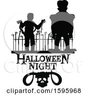 Clipart Of A Silhouetted Halloween Design Royalty Free Vector Illustration by Vector Tradition SM
