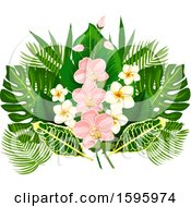 Clipart Of A Tropical Flower Design Royalty Free Vector Illustration