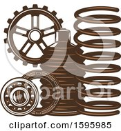 Clipart Of A Brown Automotive Design Royalty Free Vector Illustration by Vector Tradition SM