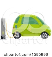 Clipart Of A Charging Electric Car Royalty Free Vector Illustration