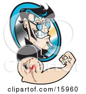 Handsome Flirty Black Haired Man Grinning And Flexing Showing The Tattoo Of A She Devil On His Arm Clipart Illustration