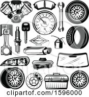 Clipart Of Black And White Automotive Designs Royalty Free Vector Illustration