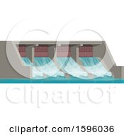 Clipart Of A Dam Royalty Free Vector Illustration