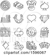 Clipart Of Grayscale Casino And Gambling Icons Royalty Free Vector Illustration