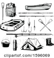 Clipart Of Black And White Camping And Outdoor Designs Royalty Free Vector Illustration by Vector Tradition SM