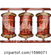 Clipart Of A Prayer Wheel Royalty Free Vector Illustration by Vector Tradition SM