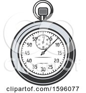 Clipart Of A Sports Stopwatch Royalty Free Vector Illustration