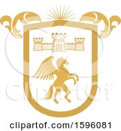 Clipart Of A Golden Yellow Pegasus Shield Royalty Free Vector Illustration by Vector Tradition SM