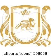 Clipart Of A Golden Yellow Dragon Shield Royalty Free Vector Illustration by Vector Tradition SM