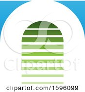 Striped Green And Blue Letter A Logo