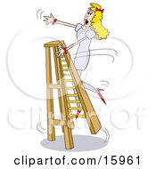 Clumsy Blond Woman Trying To Climb A Ladder In Heels Falling Over