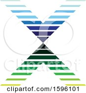 Striped Blue And Green Letter X Logo