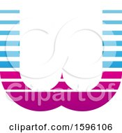 Clipart Of A Striped Blue And Magenta Letter W Logo Royalty Free Vector Illustration