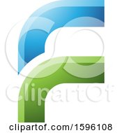 Clipart Of A Rounded Corner Blue And Green Letter F Logo Royalty Free Vector Illustration