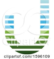 Striped Blue And Green Letter J Logo