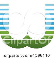 Clipart Of A Striped Blue And Green Letter W Logo Royalty Free Vector Illustration
