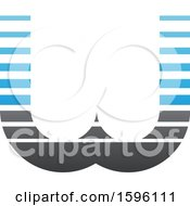 Clipart Of A Striped Gray And Blue Letter W Logo Royalty Free Vector Illustration
