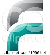 Clipart Of A Rounded Corner Gray And Green Letter F Logo Royalty Free Vector Illustration